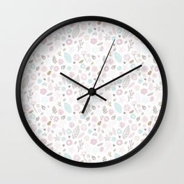 Unicorns and Flowers patterns Wall Clock