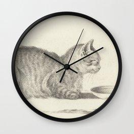 Vintage Cat Drawing, 1812 Wall Clock