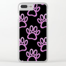 Pink Neon Dog Paw Print Clear iPhone Case