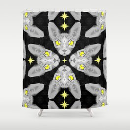 Sphynx Cat Black Pattern Shower Curtain