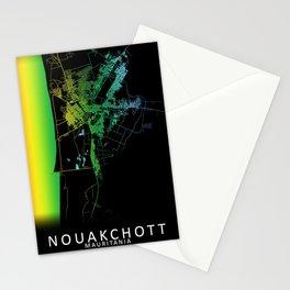 Nouakchott, Mauritania, City, Map, Rainbow, Map, Art, Print Stationery Cards