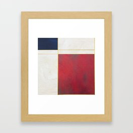 Blue, Red And White With Golden Lines Abstract Painting Framed Art Print
