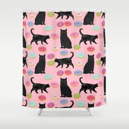 Black cat donuts cat breeds cat lover pattern art print cat lady must have Shower Curtain