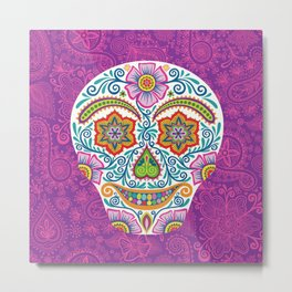 Flower Power Skully Metal Print