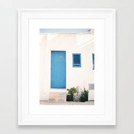 """Travel photography print """"Ibiza blue and white"""" photo art made in the old town of Eivissa / Ibiza Framed Art Print"""