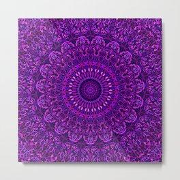 Purple Night Garden Mandala Metal Print