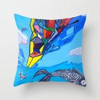 transformer Throw Pillows featuring Trippy Transformer Bird Mixed Media Painting on Canvas by VibrationsArt