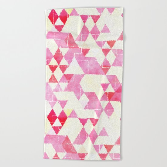 Abstract Pink Triangles, Watercolor Pattern Beach Towel