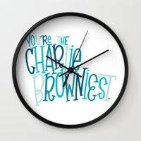 charlie brown Wall Clocks featuring Charlie Browniest by Chelsea Herrick