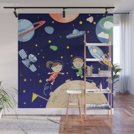 Space kids astronauts planets asteroids and spaceships Wall Mural
