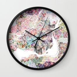 Montreal map - Landscape orientation Wall Clock