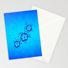 3 Blue Honu Turtles Stationery Cards