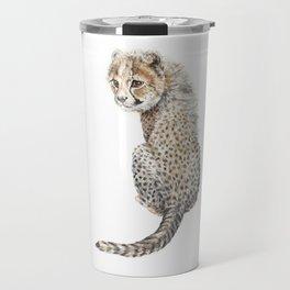 Watercolor Cheetah Painting Travel Mug