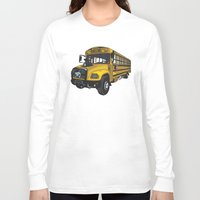 school Long Sleeve T-shirts featuring School bus by mangulica illustrations