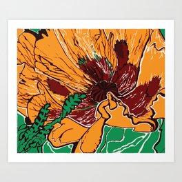 Flower Pop Art Orange Burgundy and Green Nature Still Life Block Flat Colour Graphic Art Art Print