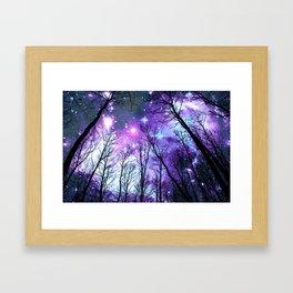 Black Trees Lavender Pink Blue Space Framed Art Print