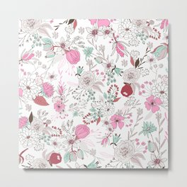 Fuchsia pastel green white abstract floral illustration Metal Print