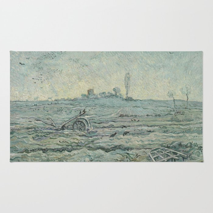 Snow-Covered Field with a Harrow (after Millet) Rug