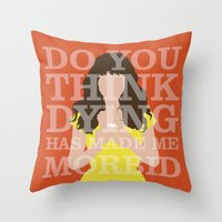 pushing daisies Throw Pillows featuring Pushing Daisies - Chuck by MacGuffin Designs