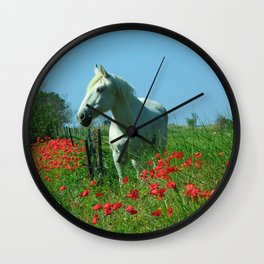 white horse and red poppies: South of France Wall Clock