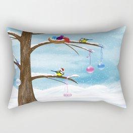 Chickadees celebrate Christmas Rectangular Pillow