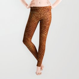 Brown vintage faux leather background Leggings
