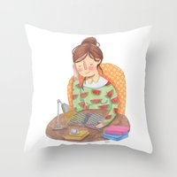 reading Throw Pillows featuring Reading by Maria Garcia