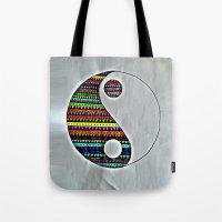 ying yang Tote Bags featuring Ying Yang by ArtSchool