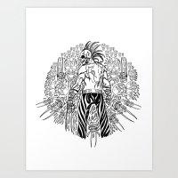 Skull Warrior Mandala Art Print