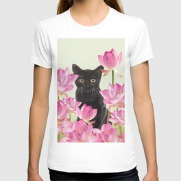 Lotus Flower Blossoms Black Cat T-shirt