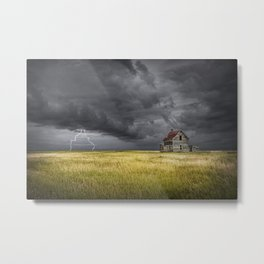 Thunderstorm on the Prairie with abandoned farmhouse Metal Print