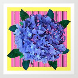 BLUE ABSTRACTED HYDRANGEA YELLOW-PINK Art Print
