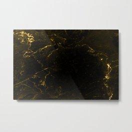 Black Gold Marble Metal Print