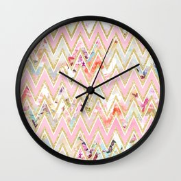 Pastel watercolor floral pink gold chevron pattern Wall Clock