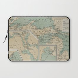 Vintage Great Lakes Lighthouse Map (1898) Laptop Sleeve
