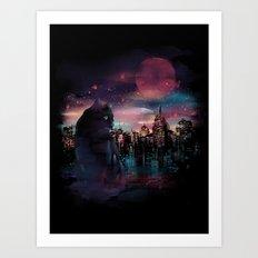 Black Cat Big City Art Print