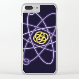 Gold and Silver Atomic Structure Clear iPhone Case
