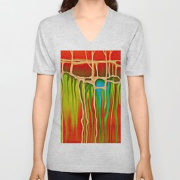 Distant Trees in Orange and Lime Unisex V-Neck