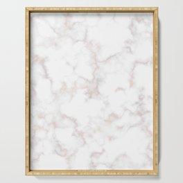 Rose Gold Marble Natural Stone Gold Metallic Veining White Quartz Serving Tray
