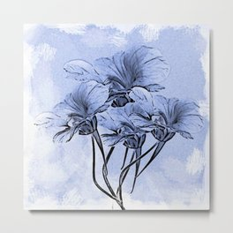 Painterly Blue Floral Metal Print