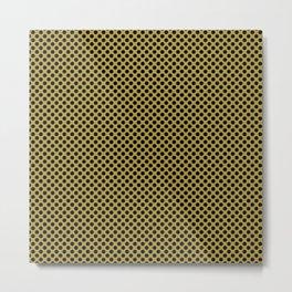 Golden Olive and Black Polka Dots Metal Print