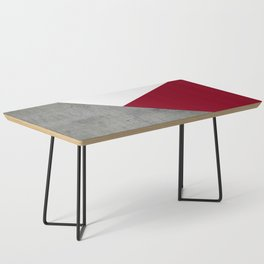 Concrete Burgundy Red White Coffee Table