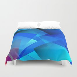 Poetry blue with red detail Duvet Cover