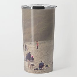 sandy sausages by the sea shore... Travel Mug