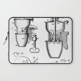 Coffee Mill Patent - Coffee Shop Art - Black And White Laptop Sleeve