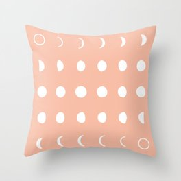 moon phases peach and white Throw Pillow