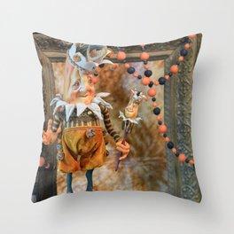 Rucus Studio Pumpkin Society Masquerade Ball Throw Pillow