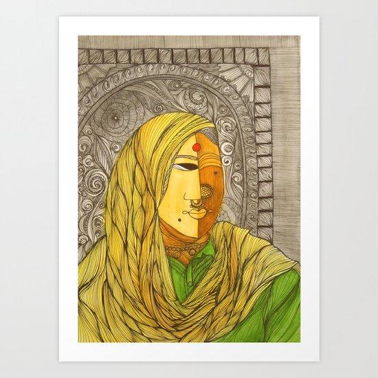 Woman in Yellow Scarf Art Print