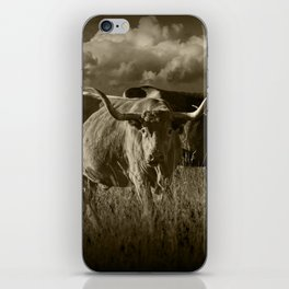 Sepia Tone of Texas Longhorn Steers under a Cloudy Sky iPhone Skin