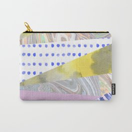 Modern geometrical pink navy blue yellow watercolor marble Carry-All Pouch